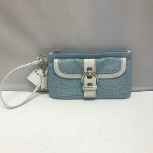 Coach Baby Blue Buckle Bag Clutch Wristlet Purse